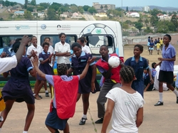 The Soccer Bus promoting sport at a Uitenhage school.